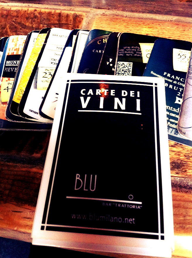 carte dei vini Blu anche Ristorante | Foodtrip and More