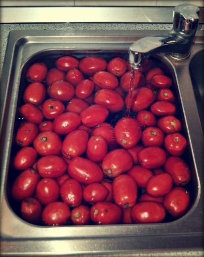 sciacquare i pomodori